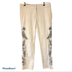 TOMMY BAHAMA embroidered white cotton capri pants
